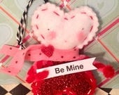 Valentine ornament be mine heart girl token of love party decor pink and red whimsical vintage inspired sugar cookie dolls