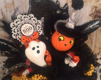 Halloween centerpiece halloween decor orange black white jack o lantern black cat ghost BOO party decor fall trick or treat