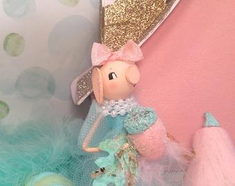 Fairytale Fall pastel fall decor thanksgiving decor pig ornament acorn decor pink and aqua party decor anthropomorphic