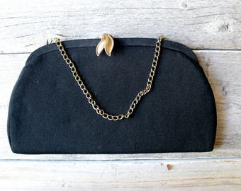 Simple Black Clutch Purse, 1950s, Satin Lined, gold chain, leaf clasp, Evening bag,