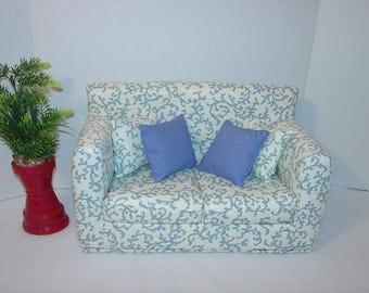 Doll Sofa 18 Inch Dolls  Blue Design  Couch - Modern Handmade Doll Furniture
