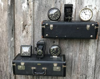 Vintage Black Zephyrweight Suitcase Upcycled - Repurposed into a Pair of Wall Shelves Suitcase Shleves
