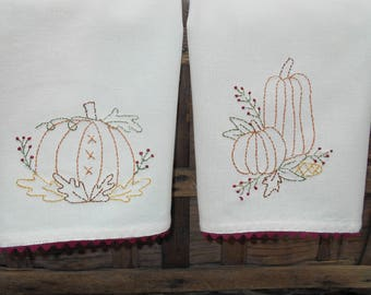 Autumn/Fall Halloween Hand Embroidered Towel