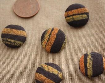 Brown buttons, Fabric buttons, Batik buttons, 23mm Buttons, Covered buttons, button set, Patterned buttons, African buttons, Fastenings
