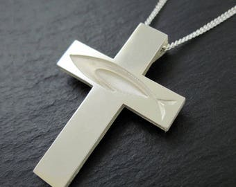 """Ichthus Cross Necklace, Christian Fish Cross Pendant with 24"""" Chain in Silver - Spiritus Jewelry Collection"""