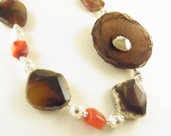 Chocolate Blossom Necklace/Choker with Agate and Carnelian
