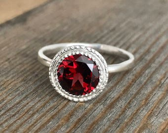 Garnet Ring Sterling Silver Ring, Red Garnet with Milgrain  Halo Ring in Eco Silver