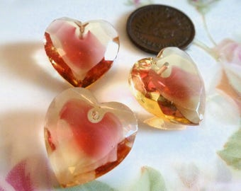 3 Vintage Jonquil/Rose Givre, Two Tone Glass Heart Pendants, Heart Drop, Top Drilled, Flat Surface, 18x17mm, 3 pieces