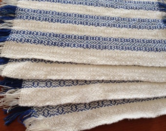 Handwoven placemats in natural cotton with blue stripes