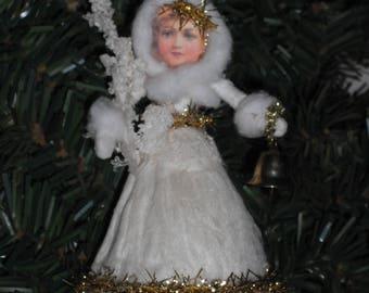 Spun Cotton Christmas Ornament- Handmade Vintage Style