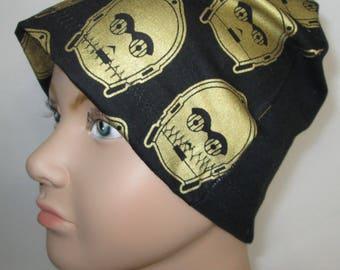 Kids C-3PO Star Wars  Children Kids Size Lightweight  Hat -Chemo, Cancer, Alopecia,Sleep Cap, Summer Chemo Hat