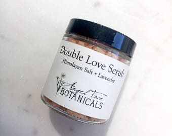 Double Love Body Scrub with Himalayan Salt & Organic Lavender Essential Oils Moisturizing and Exfoliating Sea Salt and Shea Butter Scrub