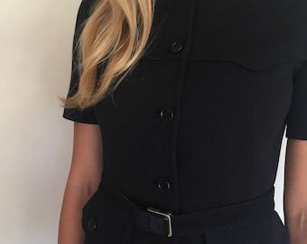 Vintage black knit Prada skirt suit.  40