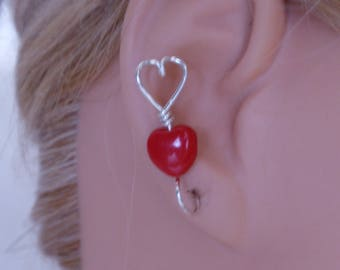 Valentine Jewelry, Ear Climber earring.Two hearts .Glass bead Heart. 14 K Gold filled ,Sterling Silver 925,Copper and more choices of wire