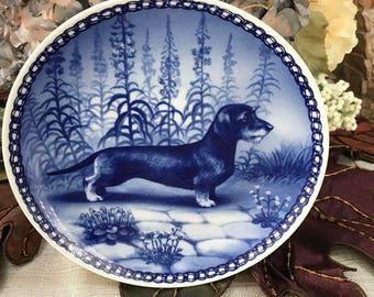 VINTAGE - Danish Blue Dachshund Collectors Plate