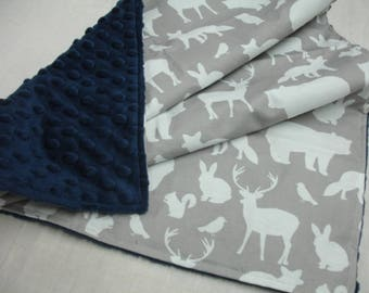 Woodland Animal Party in Gray with Navy Minky Baby Security Blanket 20 x 25 READY TO SHIP On Sale