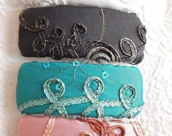 CLEARANCE - Teal barrette, white barrette, black barrette, pink barrette,fabric barrette, hair accessory, fashion accessory