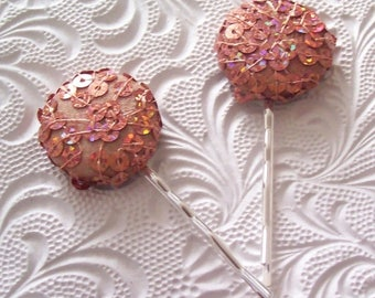CLEARANCE - 2 copper sequin haipins,embroidered hairpins, fabric hairpins, 1 1/8 inch hairpins, hair accessory, womens accessory