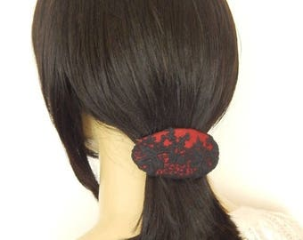 CLEARANCE - Lace barrette, hair barrette, orange barrette, red barrette, blue barrette, floral barrette, fabric barrette, hair accessory,