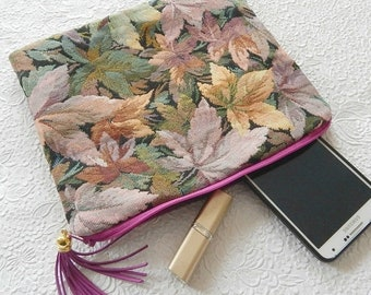 CLEARANCE - Purple upholstery purse, leafy fabric clutch, floral clutch, cosmetic bag, toiletry bag, zipper pouch,  bag organizer, flat pouc