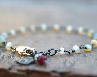 Ethiopian Opal, Ruby Gemstone Bracelet, Oxidized Sterling Silver, 14KT Gold filled, Mixed Metal Bracelet, Heart Charm Bracelet, Petite Style