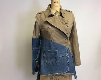 Raw Destroyed Denim Asymmetrical Tan Twill Jacket Med