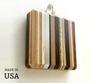 Modern Wood Pendant, Jewelry, Small Wood Gift for Man, Gift for Woman, Design in Wood and Metal, Square, Made in USA