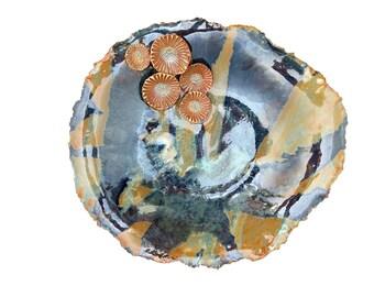 Large ceramic Wall Sculpture. Round Centerpiece, decorative bowl.  Blue, purple, orange flower collage. Interior Design wall accessory.