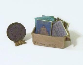 Tattered Box of Old School Books Dollhouse Miniature
