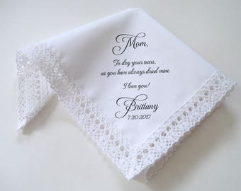 Lace wedding handkerchief, printed handkerchief, personalized hankerchief