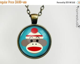 ON SALE - Sock Monkey (BLU) : Glass Dome Necklace, Pendant or Keychain Key Ring. Gift Present metal round art photo jewelry by HomeStudio
