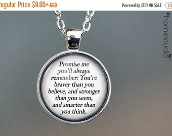 ON SALE - Winnie (Brave) Quote jewelry. Necklace, Pendant or Keychain Key Ring. Perfect Gift Present. Glass dome metal charm by HomeStudio