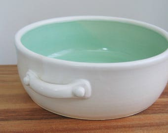 POTTERY SECONDS Brie Baker in Mint Green and White, Ceramic Casserole Dish, Stoneware Sale