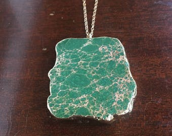 Green turquoise gemstone gold rimmed necklace one of a kind