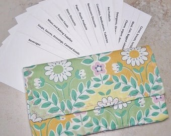 Coupon 0rganizer, Coupon Wallet, Grocery Shoppers Gift ,Green Floral Fabric,Receipt Organizer, Cardstock Dividers,Coupon Case,Coupon Storage