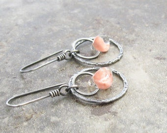metalwork earrings, fine silver and lampwork earrings, oxidized silver dangle earrings, pink earrings