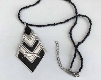 SueBero Art Deco Style Pendant, Black and Silvr Chevrons, SP Greyhound Dog, Beaded Necklace