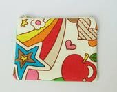 Japanese Apple, Stars, Hearts Fabric Little Coin Pouch, Kawaii Cotton Small Purse