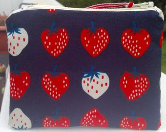 Strawberry zipper pouch small zipper bag cute zipper pouch cotton and steel coin purse