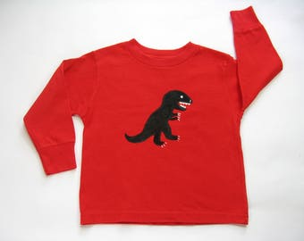 Dinosaur Shirt, Red Long Sleeve Cotton Shirt, Dinosaur Theme Birthday Party Tee or Top Hand Painted for Baby or Toddler