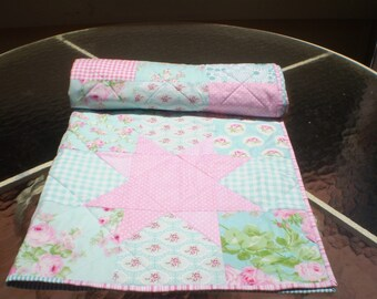Floral Baby Quilt, handmade, roses, Teal, Pink, Aqua, turquoise,Crib Quilt, Baby Girl Bedding, baby Quilt, Chevron Quilt, toddler, Rose Star
