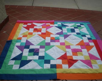 Unfinished Quilt top, quilt top, unfinished baby quilt top, quilttop, lap quilt, table topper, bright colored quilt top, Colorful Beauty