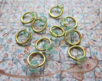 A Touch of Chartreuse - Tiny Non-Snag Beaded Ring Stitch Markers - set of 10