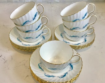 7 Vintage Minton DOWNING Cups and 10 Saucers 330201