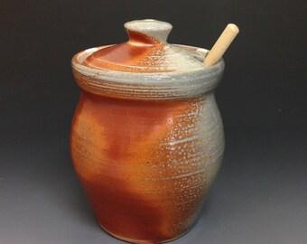 Honey Jar. Pottery Honey Pot with Dipper. Soda Fired Stoneware Pottery (#1)
