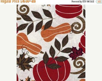 """ON SALE FALL Table Runner  13x72"""" Beautiful Pumpkins, Gourds, Leaves, Fall Holiday Table Runner"""