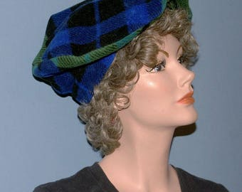 Blackwatch Plaid Tam, Beret, Cap or Hat in Anti Pill Polyester Fleece--Matches Wrap in Blackwatch Plaid--One Size Fits Most