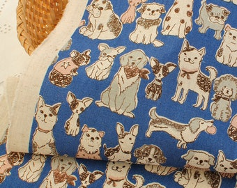 4439 - Japanese Dog Cotton Linen Blend Fabric - 43 Inch (Width) x 1/2 Yard (Length)