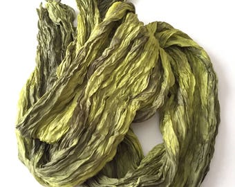 "Chartreuse Silk Scarf Hand Dyed Gray Silver Fiber Art Unisex OOAK from ""Textured Silks"" Collection"