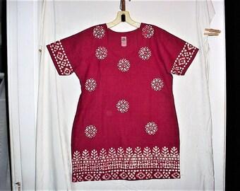 Vintage 80s Batik Flower Print Maroon Hand Spun Woven Hippie Dashiki Tunic Village